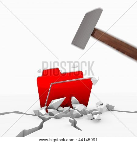 3d graphic of a isolated folder symbol smashed with a hammer