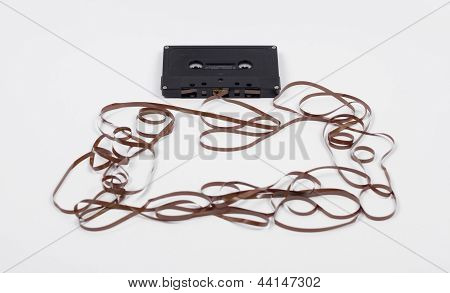 Broken Music Cassette Tape
