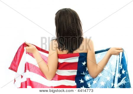Nude Brunette Woman Wearing An American Flag