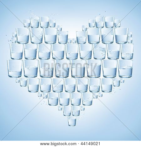 Glasses Of Water Shaped With Heart. Healthy