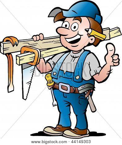 Ilustração em vetor de mão-extraídas de um trabalhador manual do carpinteiro feliz
