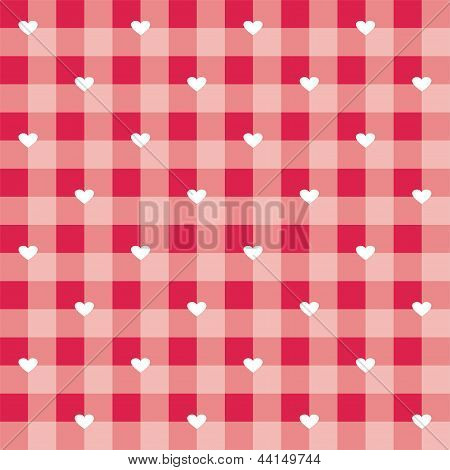 Seamless sweet red valentines vector background - checkered pattern or grid texture