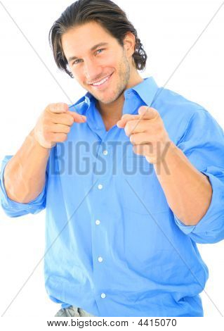 Happy Young Caucasian Male Pointing At Viewer