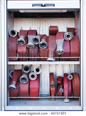 Firehoses In A Truck To Be Used By Firefighters
