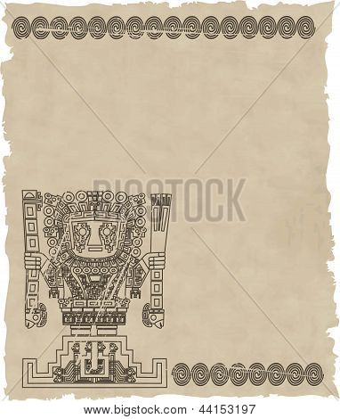 Vector Mayan And Inca Tribal Symbols On Old Paper