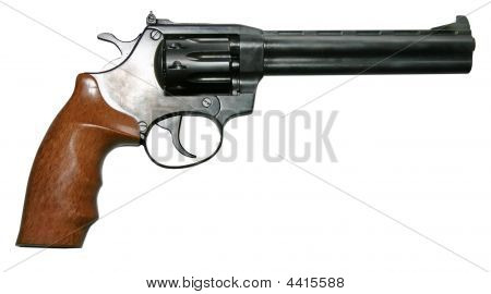Isolated Two-colored Firearm Revolver