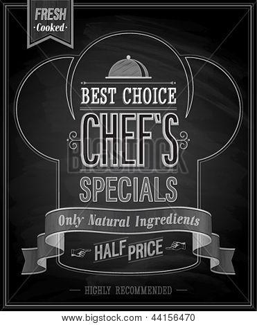 Chef`s specials Poster - Chalkboard. Vector illustration.