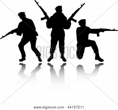 The Vector Soldiers Silhouettes