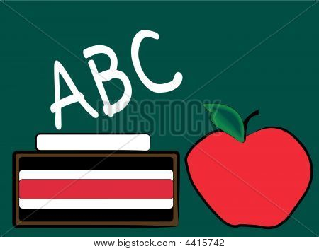 Chalkboard With Apple And Abc