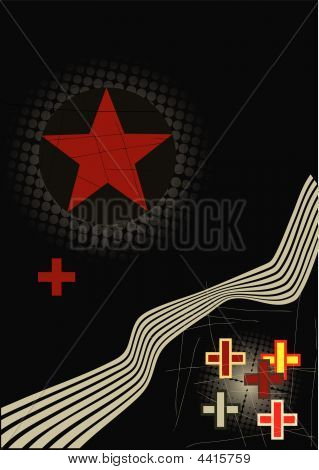 Grunge Vector Illustration With Red Star And  Cross With Halftone