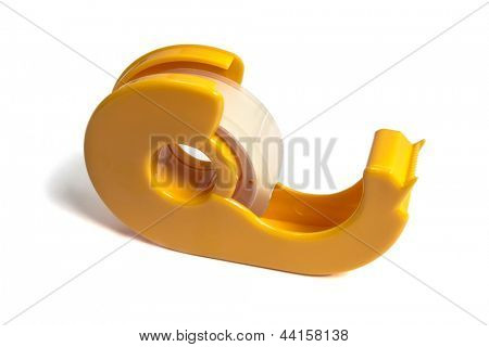 Yellow tape dispenser isolated on white background