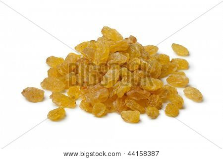 Heap of Sultana raisins on white background