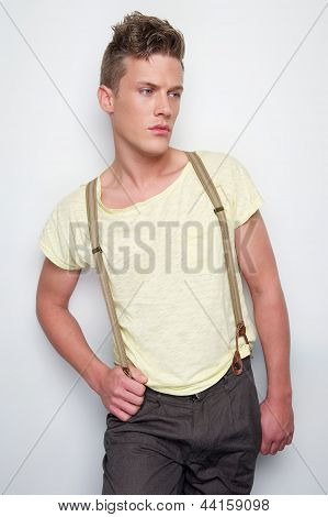 Male Fashion Model With Suspenders