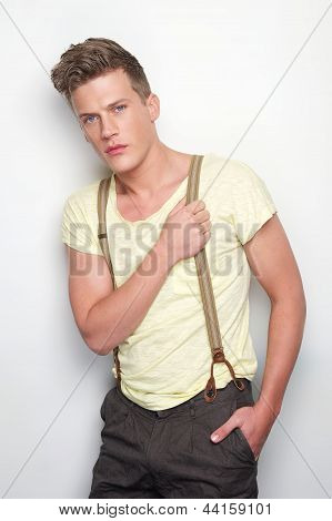 Handsome Man With Suspenders