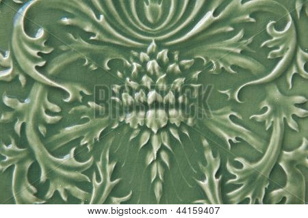 Green Ceramic Tile With Floral Pattern
