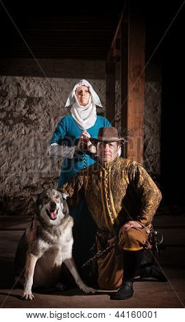 Medieval Characters With Dog