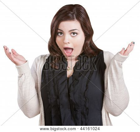 Shocked Woman With Hands Up