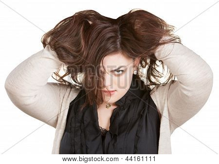 Woman Holding Messy Hair
