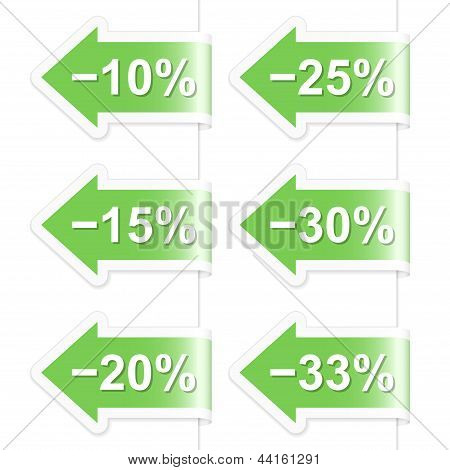 Arrow Discount Labels. Part One. Vector Illustration