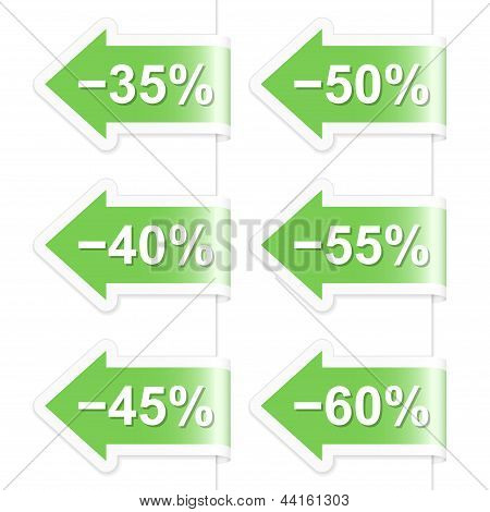 Arrow Discount Labels. Part Two. Vector Illustration