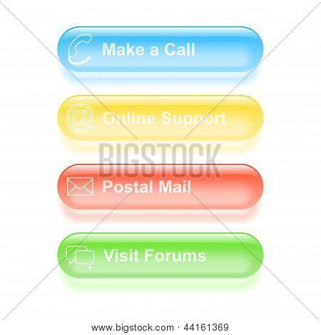 Set Of Customer Support Labels. Vector Illustration
