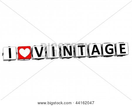 3D I Love Vintage Button Click Here Block Text