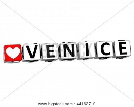 3D Love Venice Button Click Here Block Text