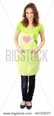 Young woman wearing kitchen apron, isolated on white