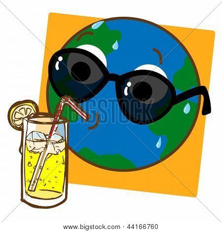 Planet Earth Drinking Lemonade