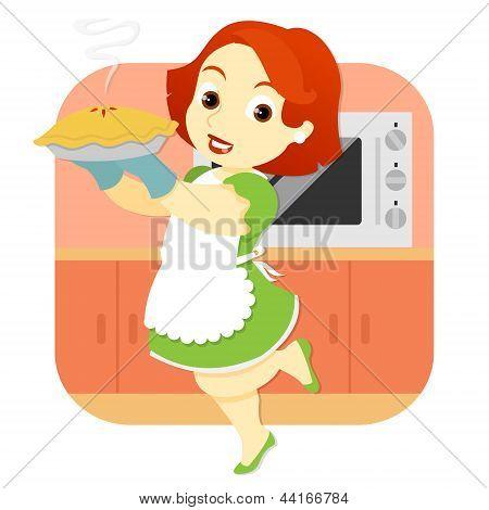 Woman In Kitchen Holding Pie