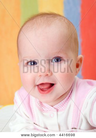 Small Caucasian  Girl  Infant Is Dared