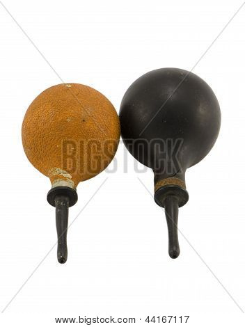 Retro Rubber Pair Enema Clysters Isolated On White