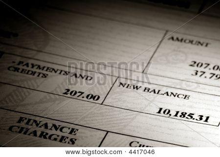 High Credit Card Debt Balance On A Statement