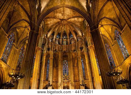 Stained Glass Windows Altar Stone Columns Gothic Catholic Barcelona Cathedral Basilica Catalonia Spa