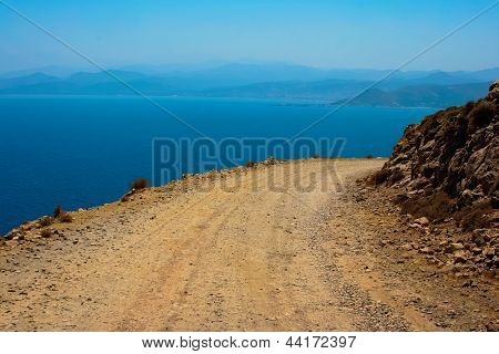 Dangerous Turn On Road To Gramvousa At Crete