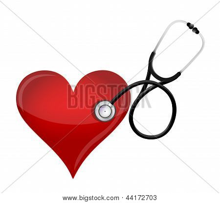 Health Heart Concept. With A Stethoscope