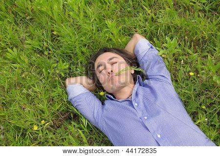 Business Man Lying On Grass