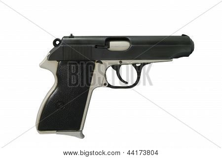 Small 9mm Handgun Isolated On White