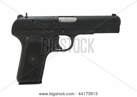 Tokarev 7.62mm Pistol Isolated On White
