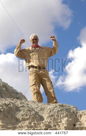 Triumphant Senior Man