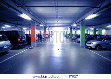 Backlit Indoor Car Parking In Blue Cold Light