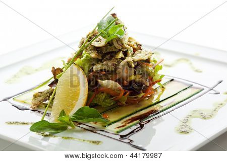 Seafood Salad with Lettuce and Lemon Slice