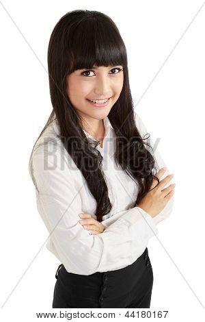 Top View Of Positive Business Woman Smiling