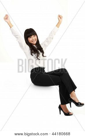 Businesswoman Smiling Sitting On Blank Empty Billboard Sign. Beautiful Happy Asian  Female Model Iso