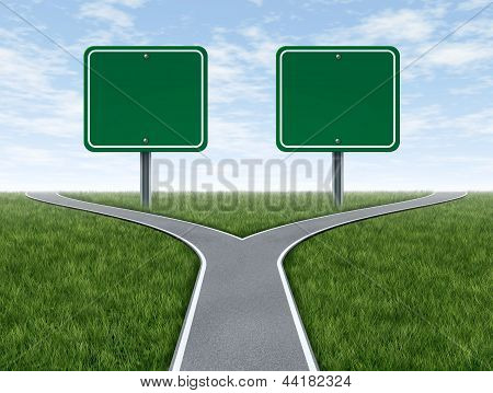 Cross Roads With Blank Signs