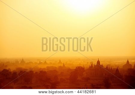 Temples of Bagan Myanmar at sunrise