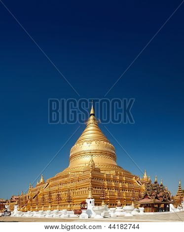 Golden pagoda buddhist temple in Bagan Myanmar
