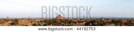 Bagan panorama Myanmar at sunset, ancient temple ruins in asia