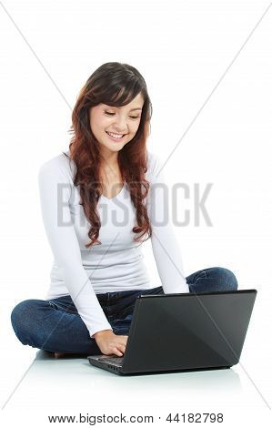 Female Sitting  With Laptop