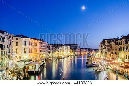VENICE, ITALY - JUNE 30: View from Rialto bridge on June 30, 2012 in Venice, Italy. Rialto is the biggest bridge in Venice